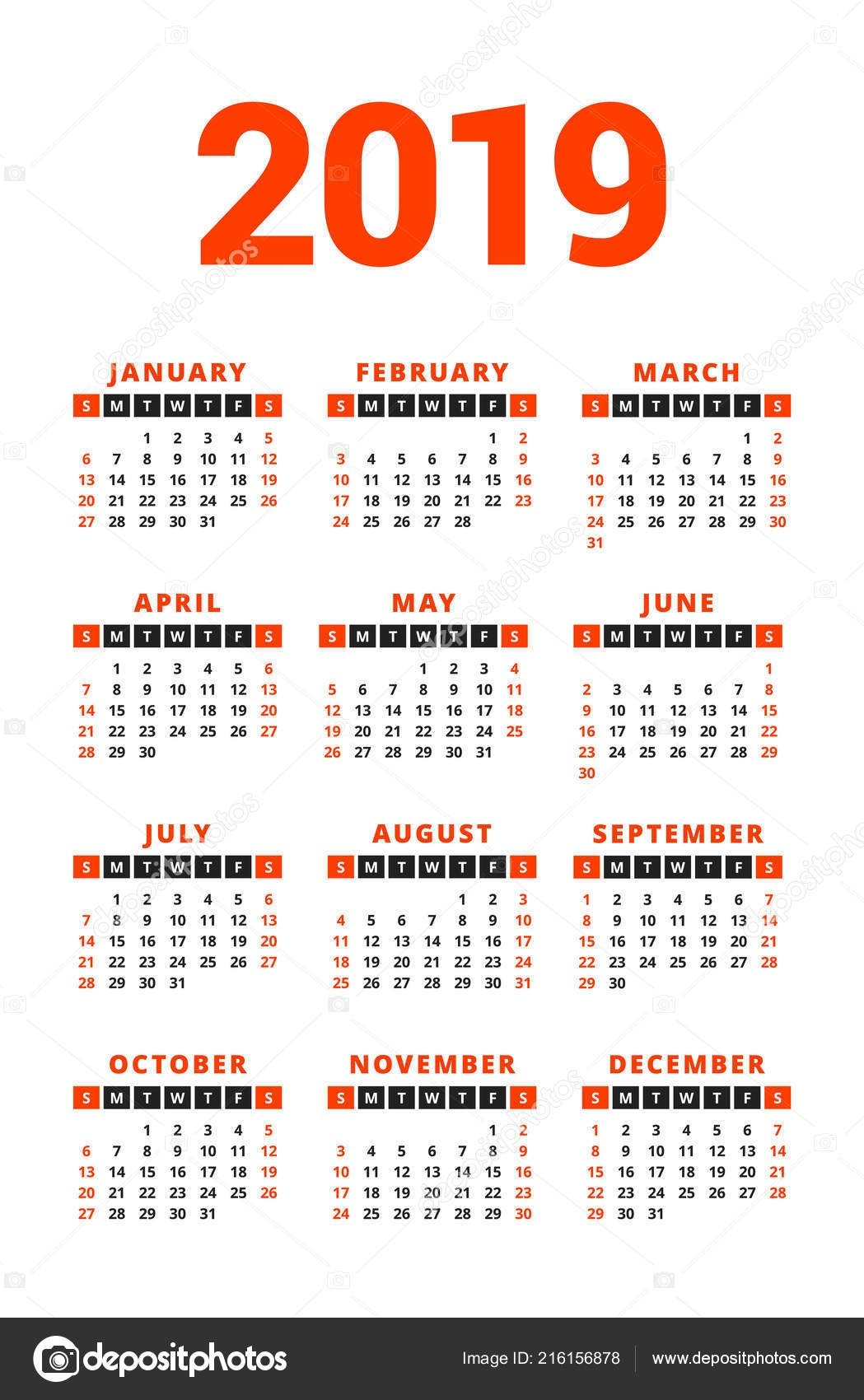 Calendar 2019 Year White Background Week Starts Sunday Columns Rows 2 Column Calendar 2019