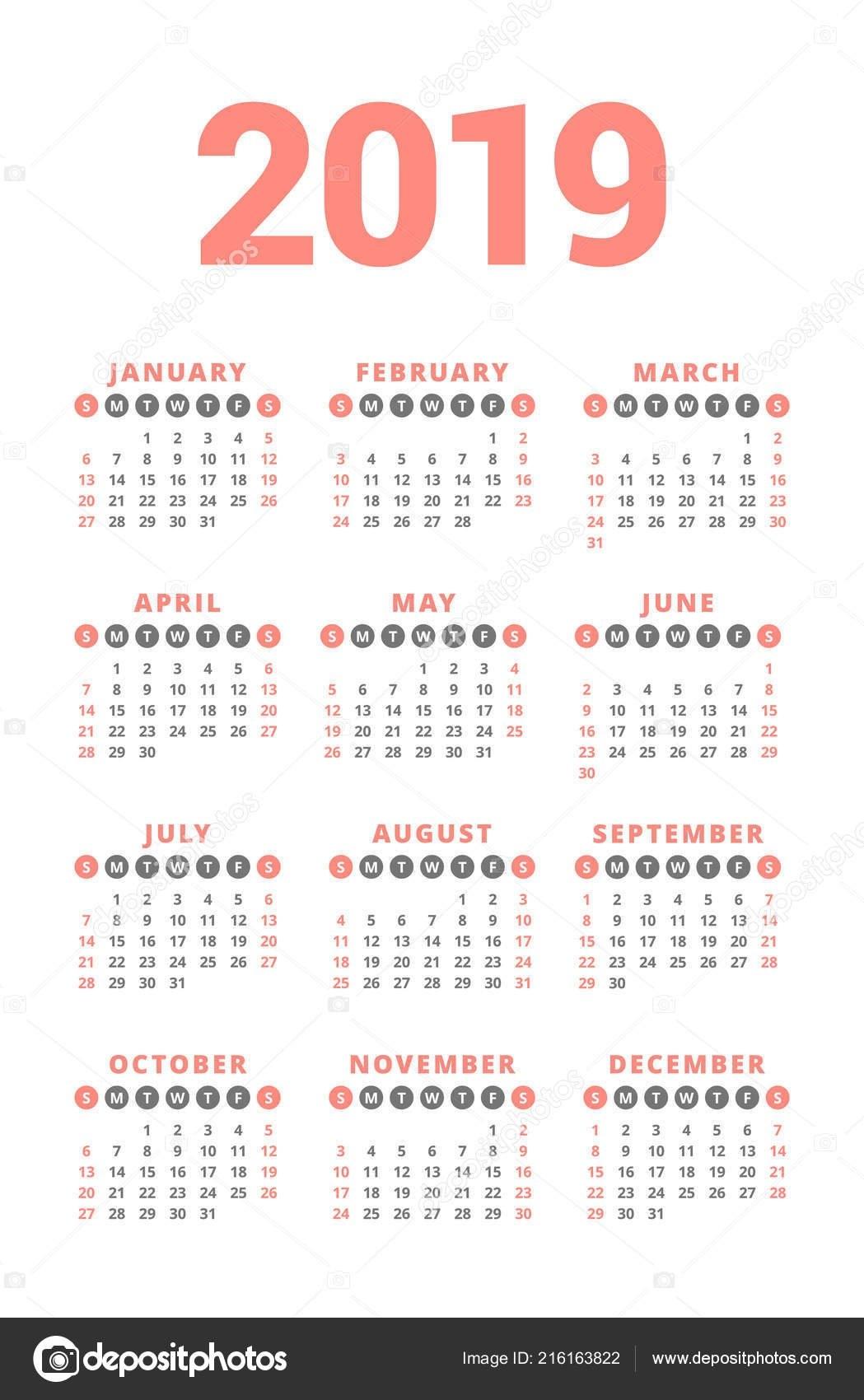 Calendar 2019 Year White Background Week Starts Sunday Columns Rows 4 Column Calendar 2019
