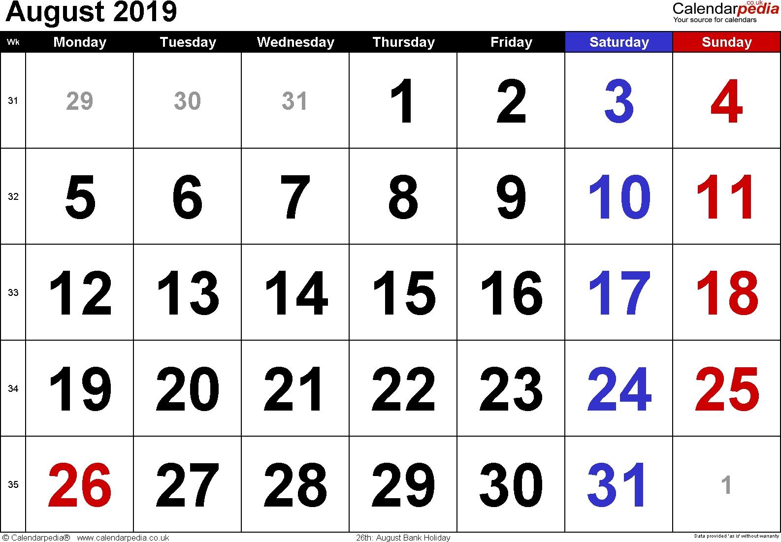 Calendar August 2019 Uk, Bank Holidays, Excel/pdf/word Templates 8 August 2019 Calendar