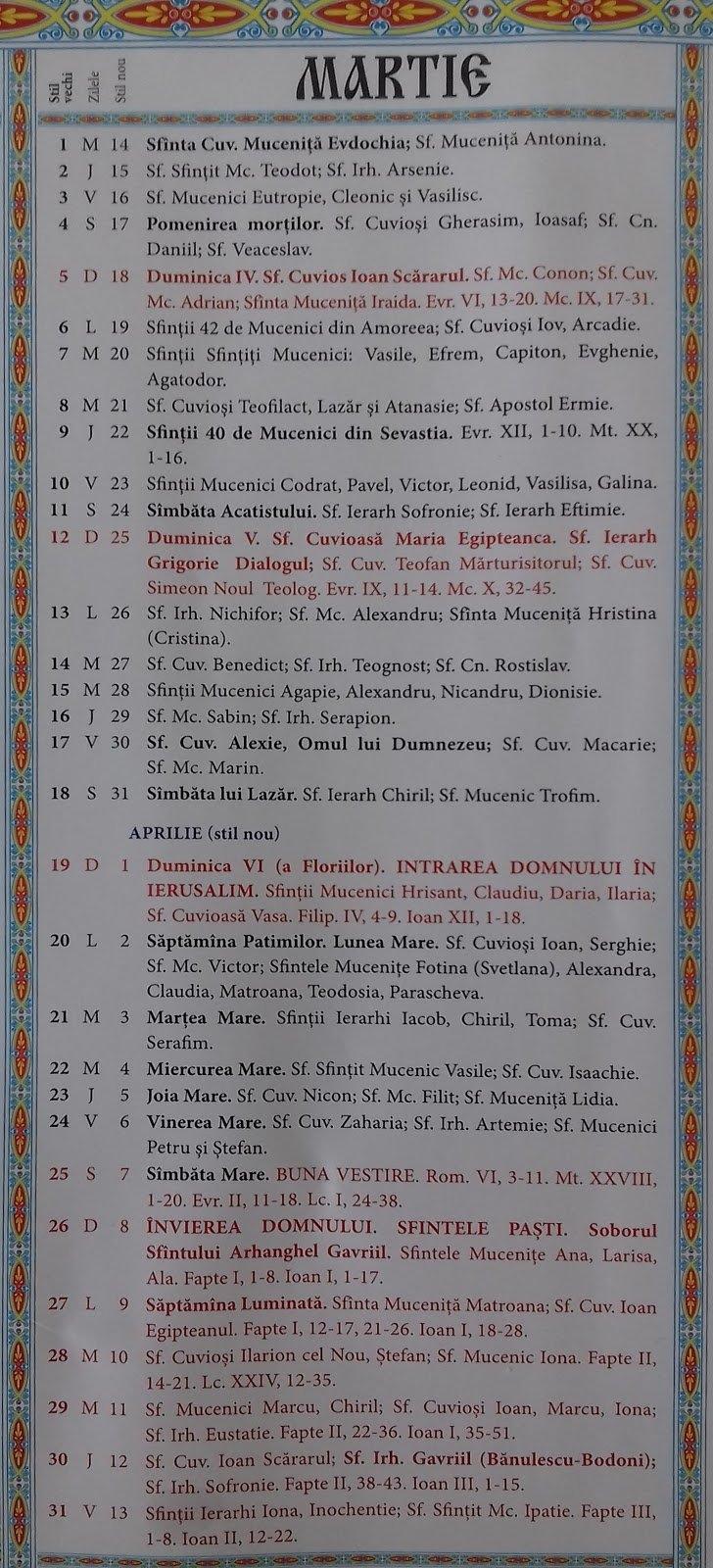 Calendar Crestin Ortodox 2018 2019 Stil Vechi Republica Moldova 8 Iunie 2019 Calendar Ortodox