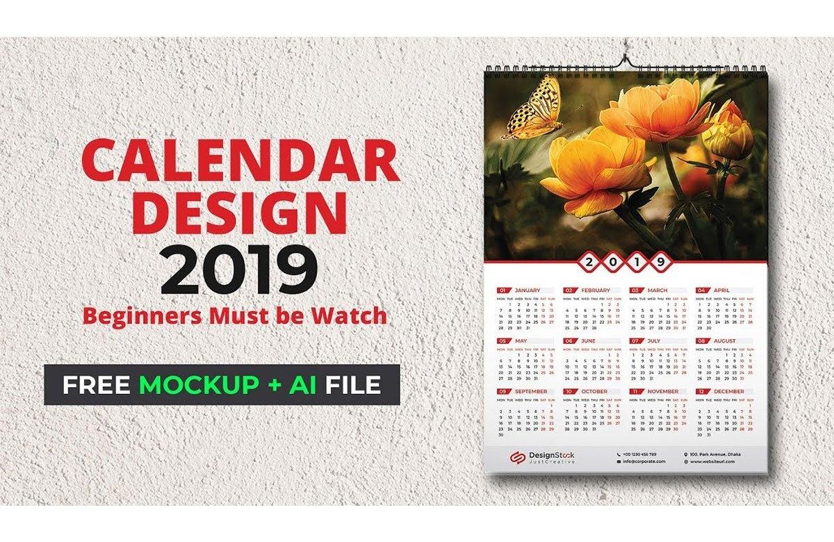 Calendar Design 2019 | Wall Calendar Mockup Free Download | Wall Calendar 2019 Illustrator