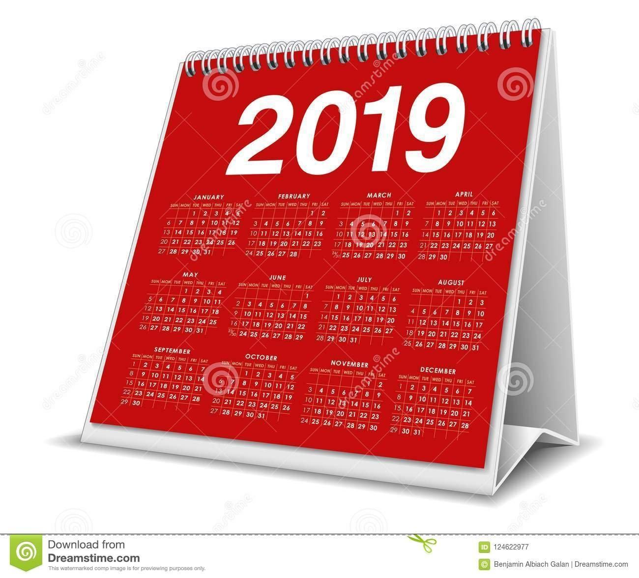 Calendar Desktop 2019 In Red Color Stock Vector – Illustration Of Calendar 2019 3D