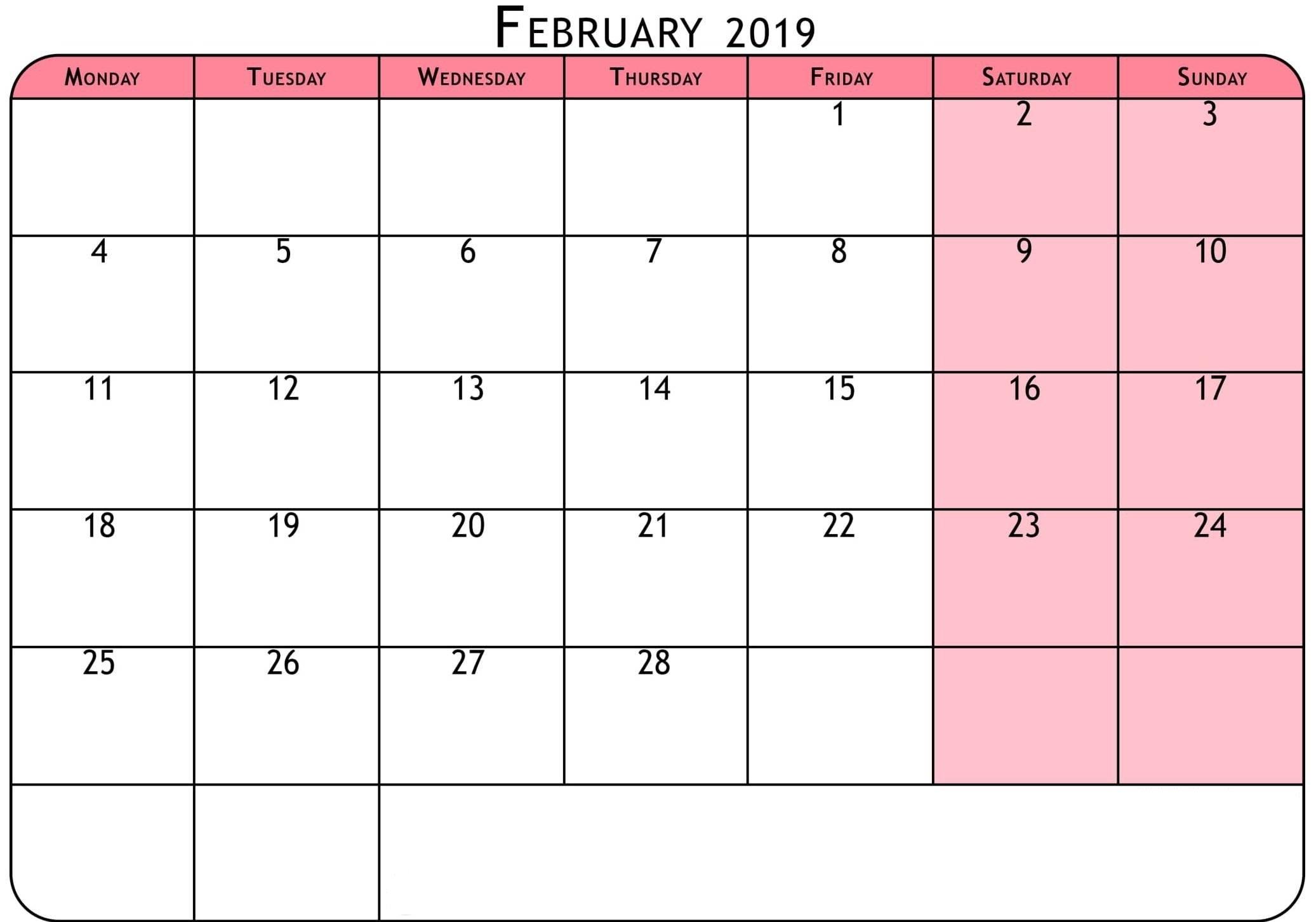Calendar February 2019 Excel – Printable 2018 Calendars Templates Calendar 2019 Excel