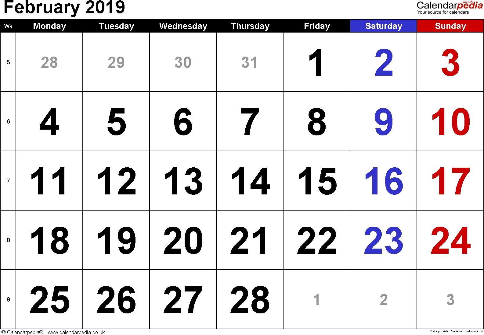 Calendar February 2019 Uk, Bank Holidays, Excel/pdf/word Templates Feb 5 2019 Calendar