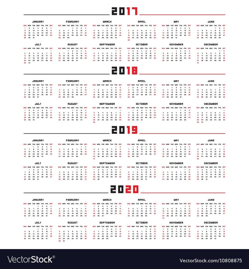 Calendar For 2017 2018 2019 2020 Royalty Free Vector Image Calendar 2019 Vector File