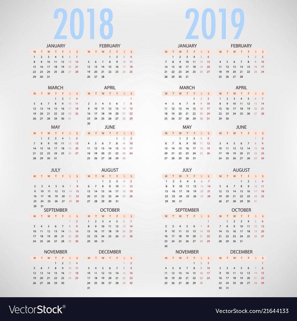 Calendar For 2018 2019 On Grey Background Vector Image Calendar Week 41 2019