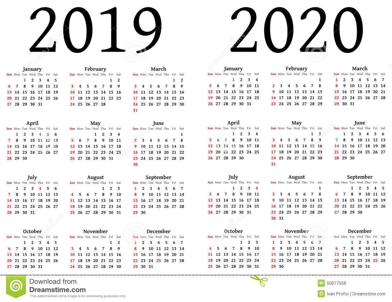 Calendar For 2019 And 2020 Stock Vector. Illustration Of Designers Calendar 2019 Eps