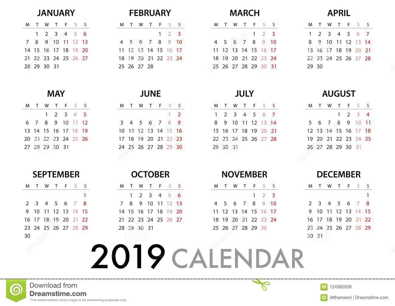 Calendar For 2019 Week Starts Monday. Simple Vector Template Stock Calendar Week 7 2019