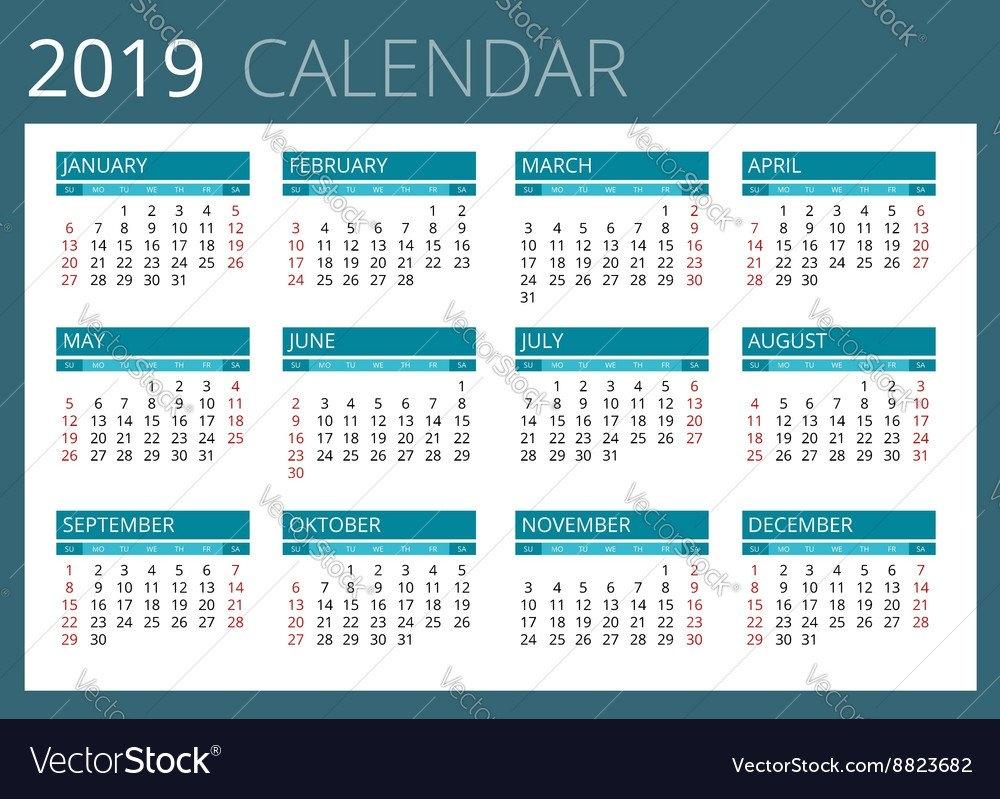 Calendar For 2019 Week Starts Sunday Simple Vector Image Week 1 Calendar 2019