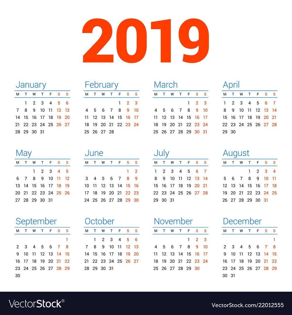 Calendar For 2019 Year On White Background Week Vector Image Week 7 Calendar 2019