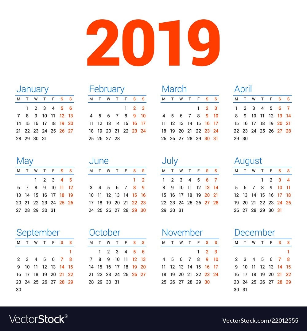 Calendar For 2019 Year On White Background Week Vector Image Week 8 Calendar 2019