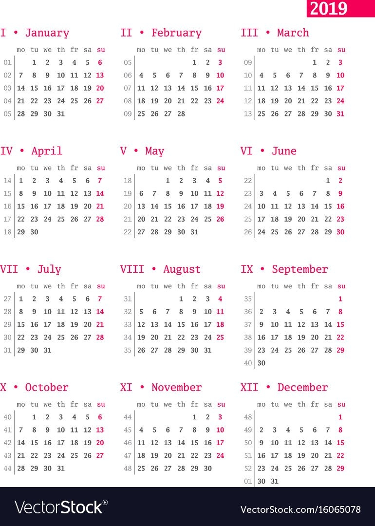 Calendar For 2019 Year With Week Numbers On White Vector Image 4 Weekly Pay Calendar 2019