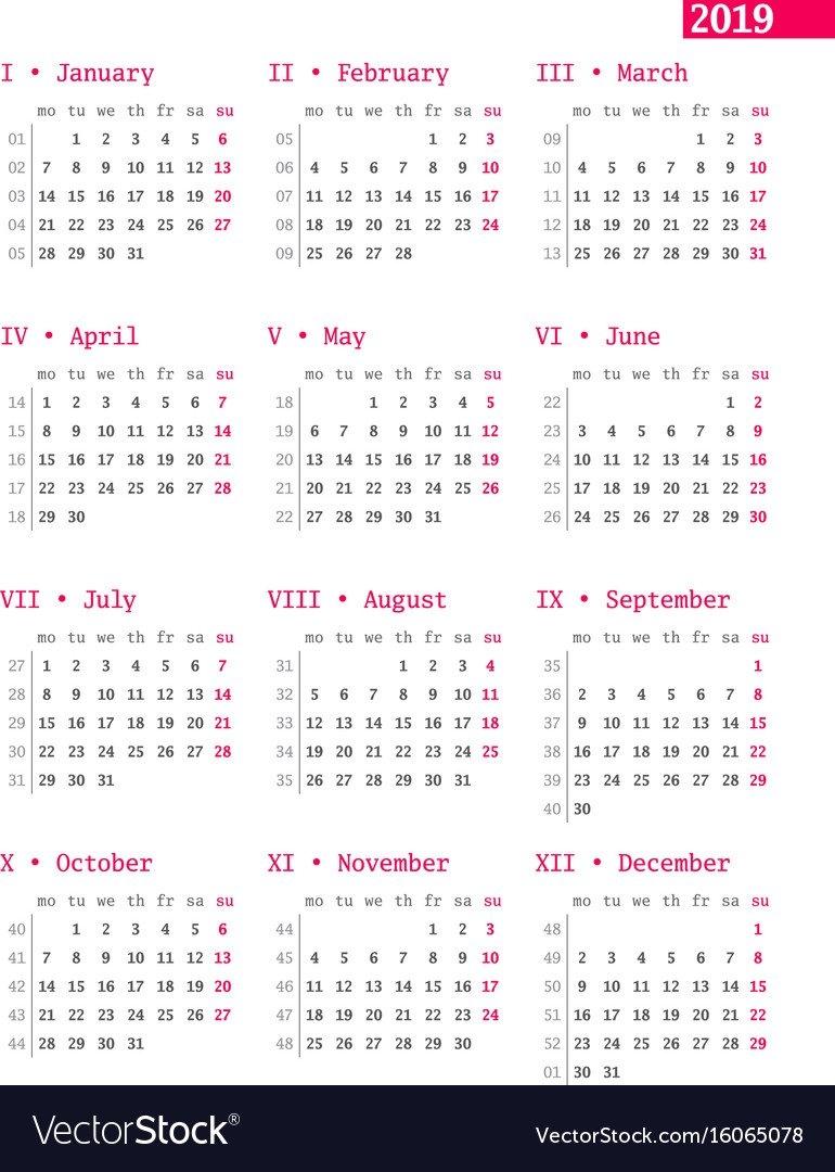 Calendar For 2019 Year With Week Numbers On White Vector Image Week 1 Calendar 2019