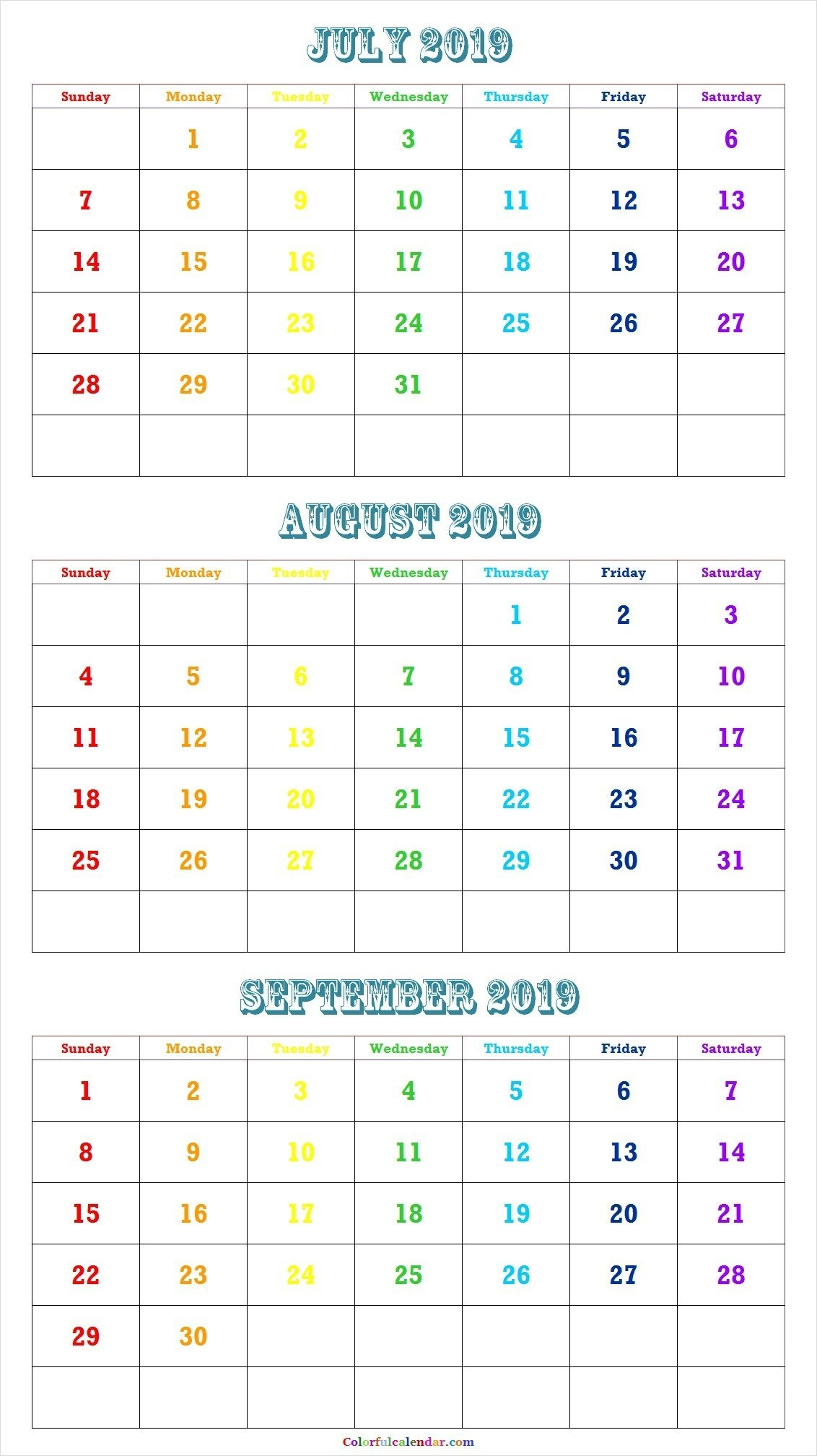 Calendar For July And August 2019 | Pinchrystal Andrews On Free Calendar 2019 Outline