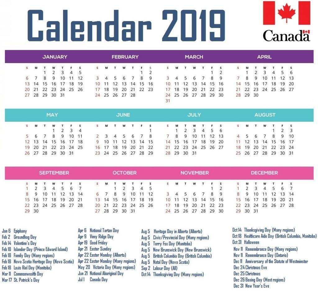 Calendar For Year 2019 Canada #canadacalendar #2019Canadacalendar Calendar Year 2019 Canada