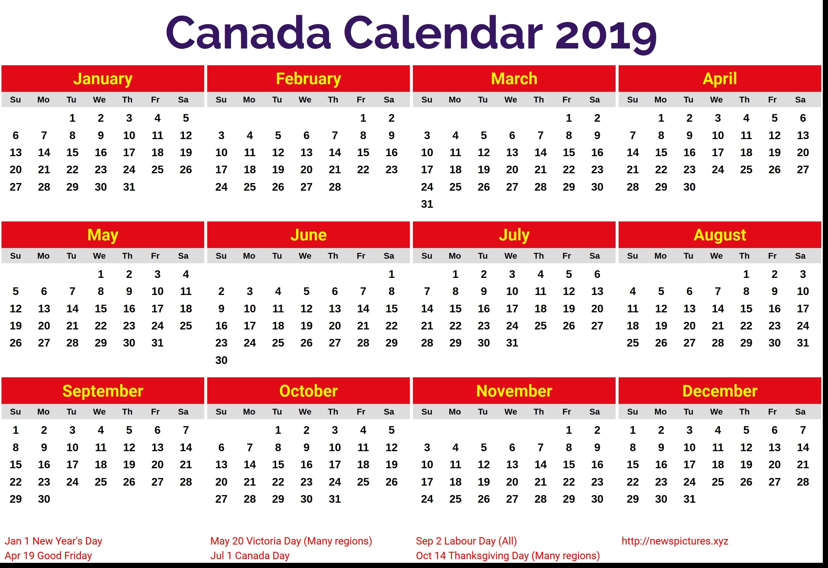 Calendar For Year 2019 Canada – Littledelhisf Calendar Year 2019 Canada