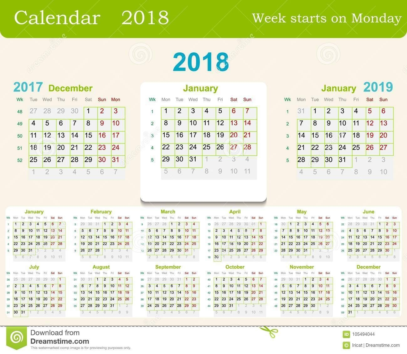 Calendar Grid For 2018 Week Starts From Monday And From December Of Calendar Week 35 2019