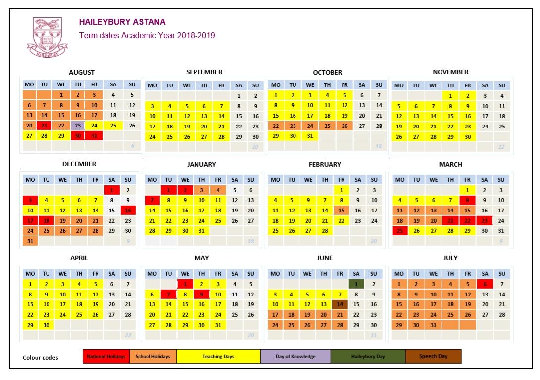 Calendar — Haileybury Kazakhstan Calendar 2019 Kazakhstan