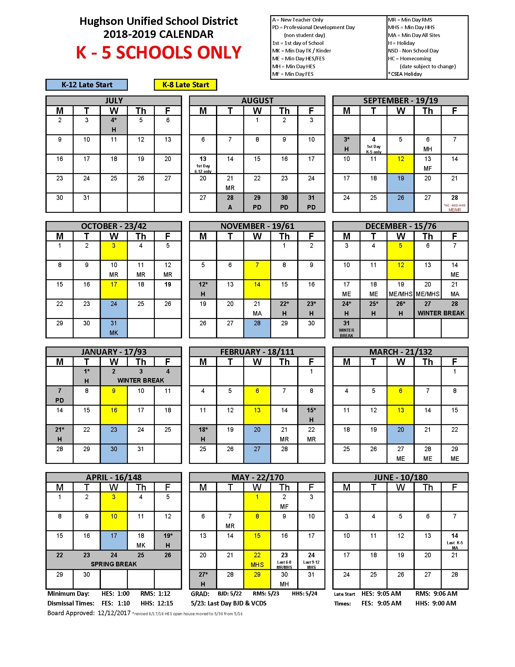 Calendar – Hughson Unified School District J 2019 Calendar