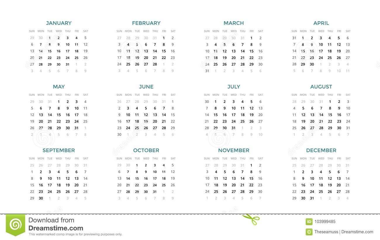 Calendar Infographic, Table Chart, Presentation Chart. Business 4 Week Period Calendar 2019