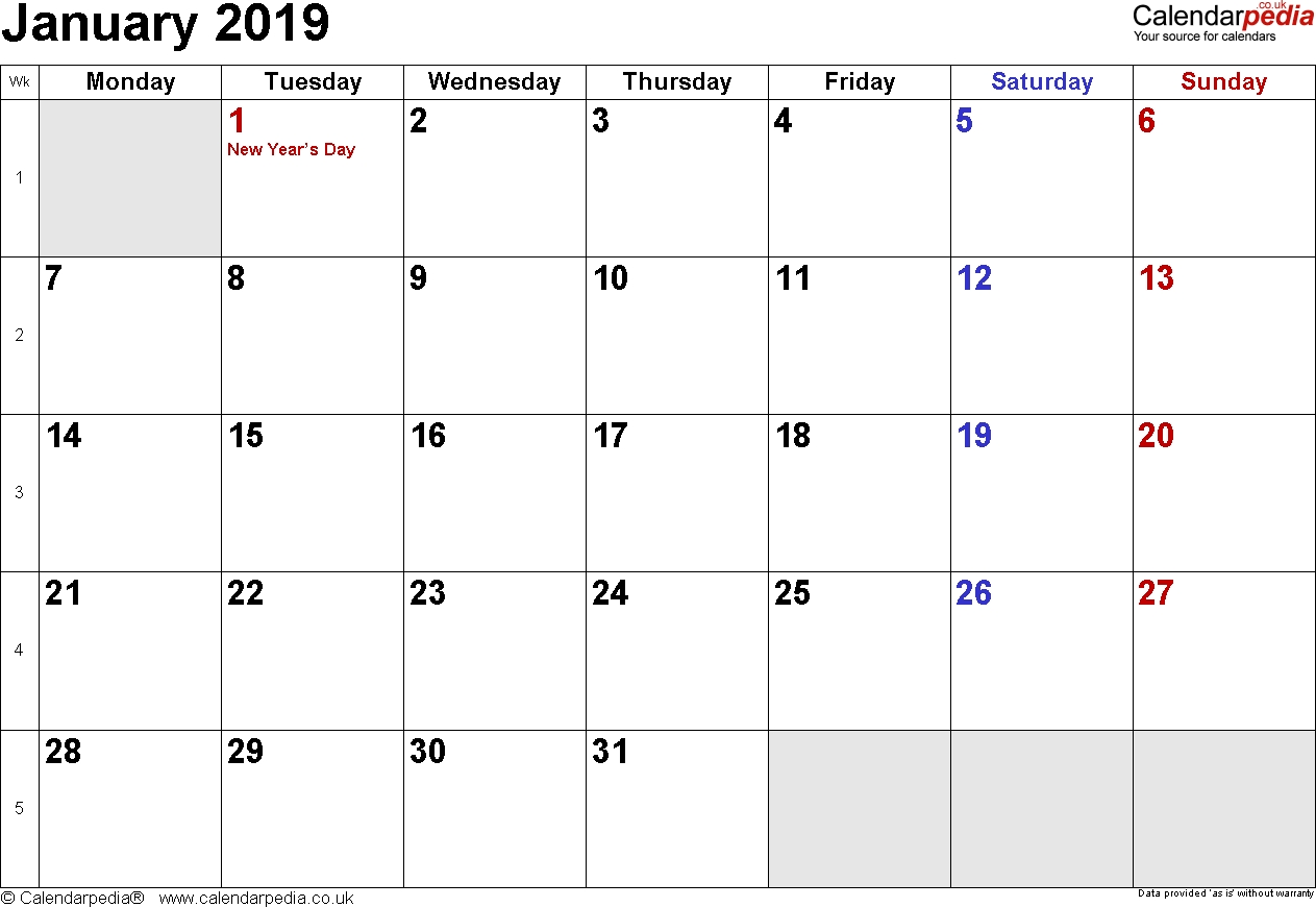 Calendar January 2019 Uk, Bank Holidays, Excel/pdf/word Templates January 2019 Calendar 365