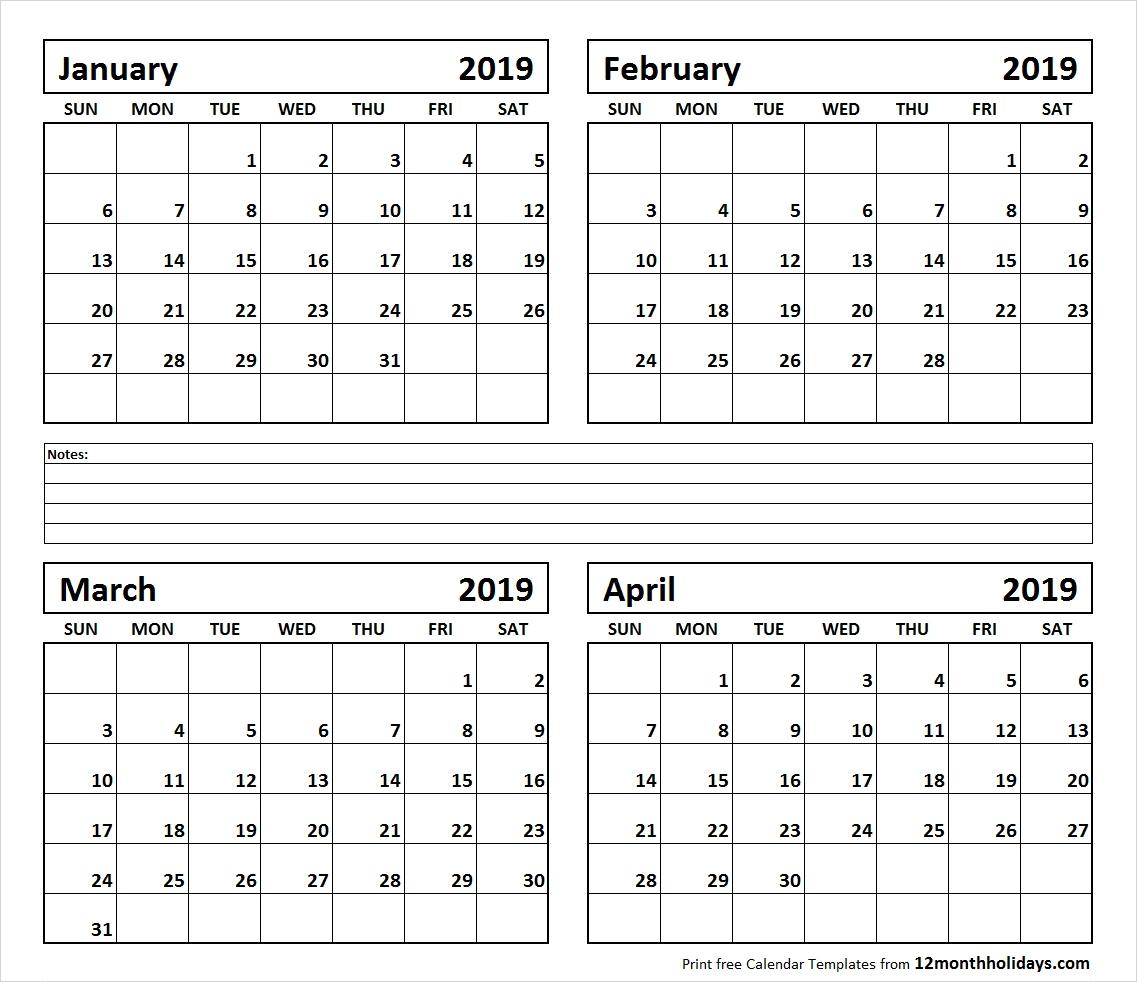 Calendar January To April 2019 Printable – All 12 Month Calendar Calendar 2019 January To April