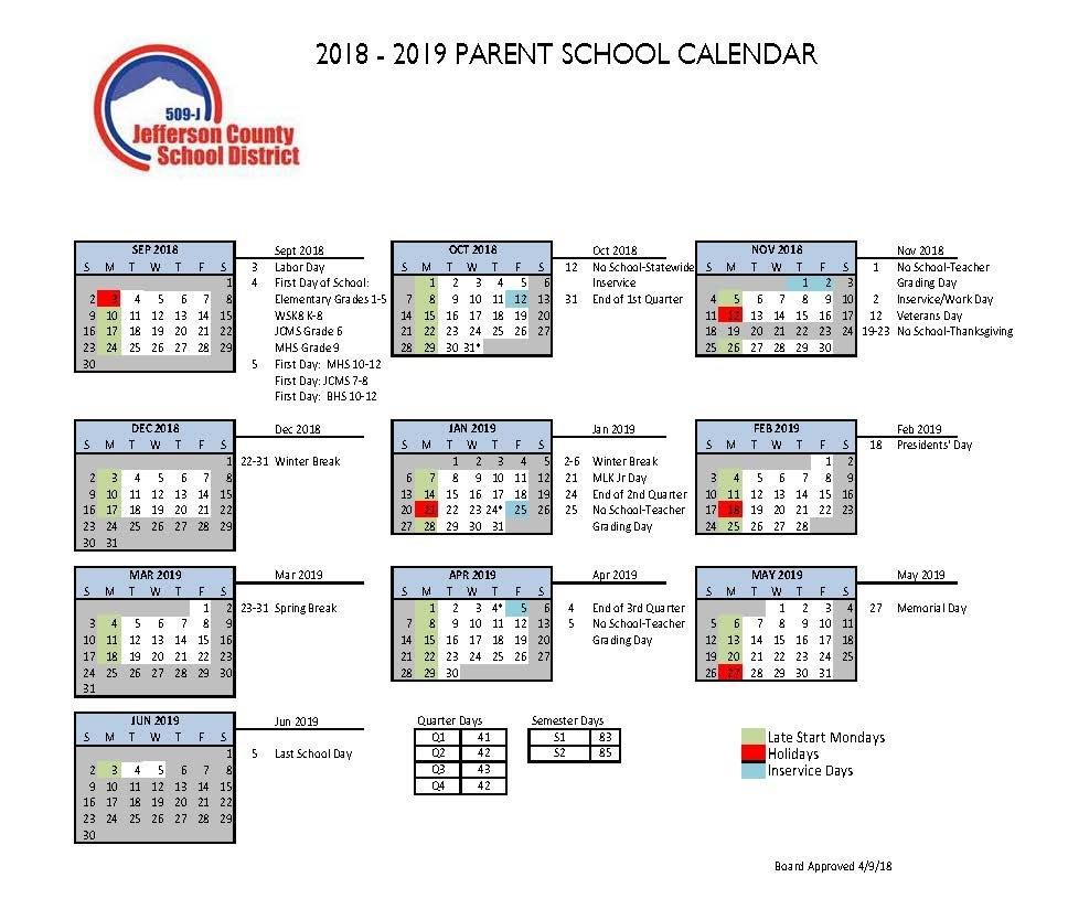 Calendar | Jefferson County School District 509 J School District 5 Calendar 2019