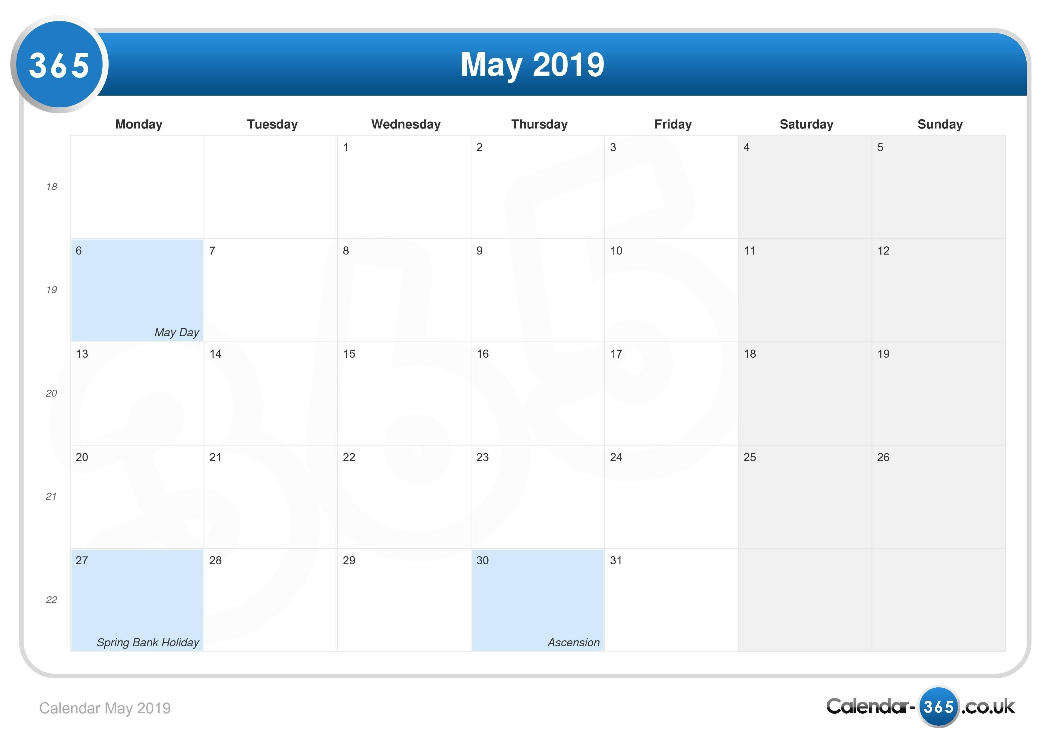 Calendar May 2019 Calendar May 3 2019