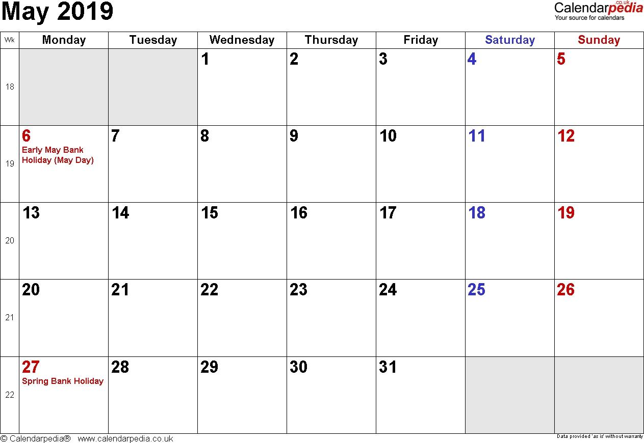Calendar May 2019 Uk, Bank Holidays, Excel/pdf/word Templates May 1 2019 Calendar