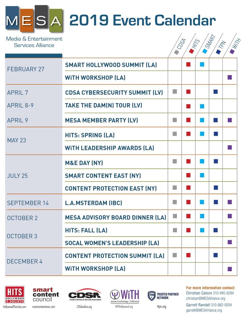 Calendar – Media & Entertainment Services Alliance Calendar 2019 Events