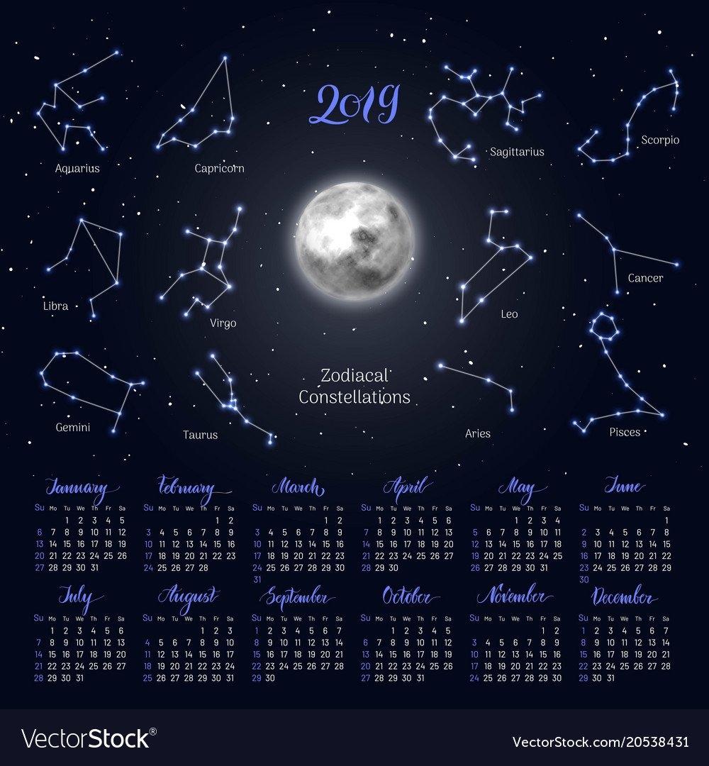 Calendar Moon Zodiac Constellations 2019 Night Vector Image Lunar Calendar 2019 Zodiac