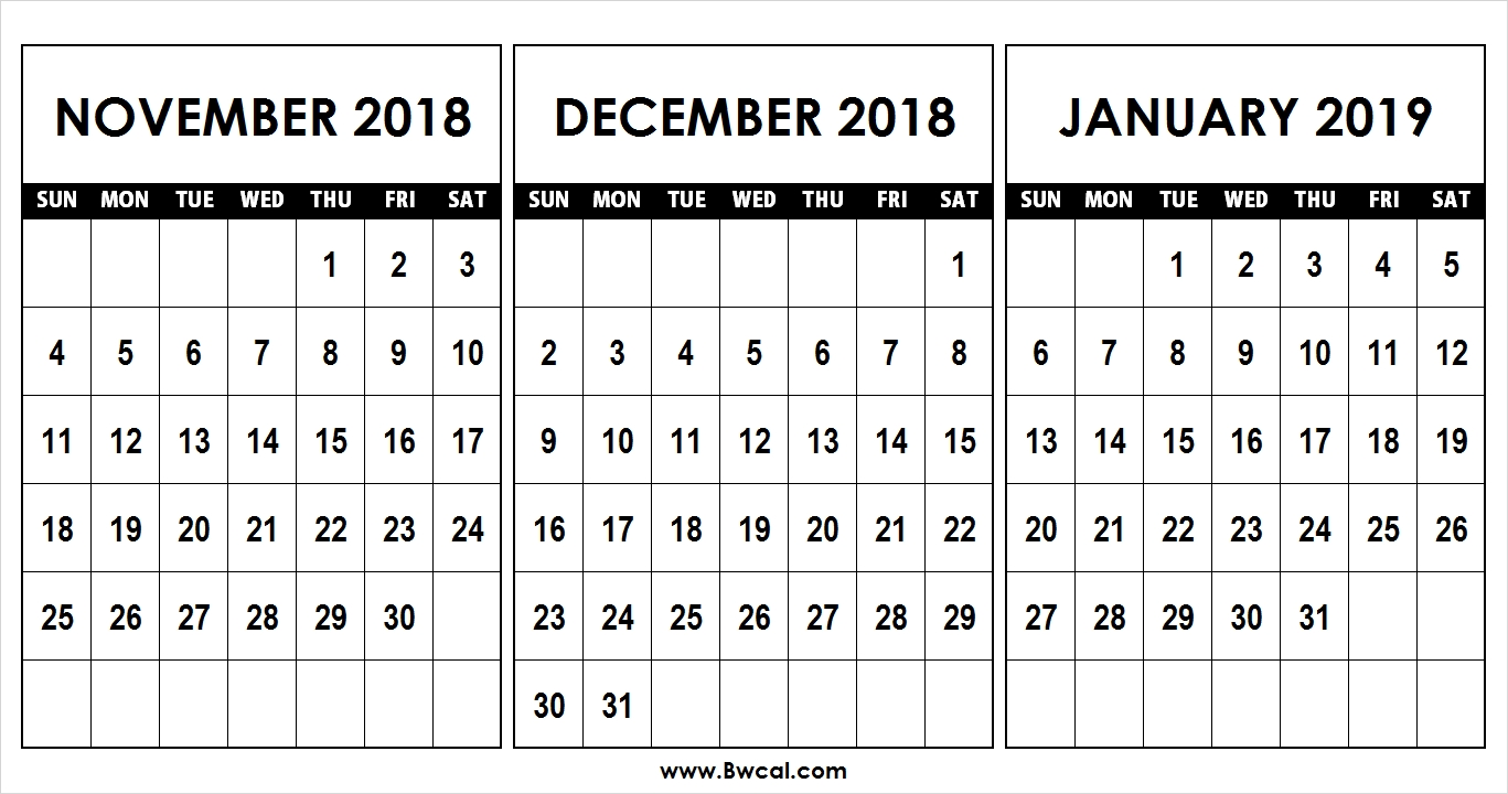 Calendar November December 2018 January 2019 Template | Calendr Calendar 2019 November December
