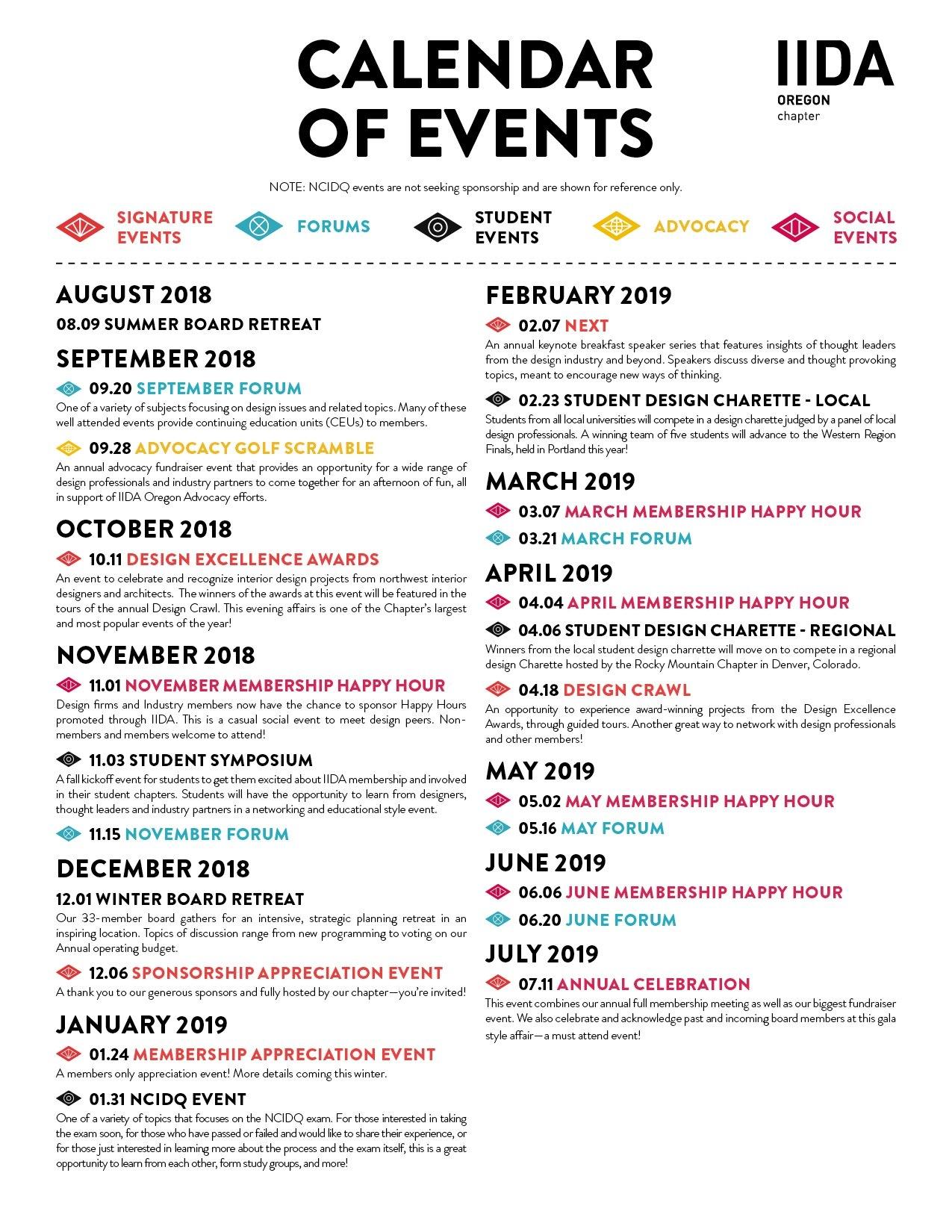 Calendar Of Events | Iida Oregon Chapter Calendar 2019 Events