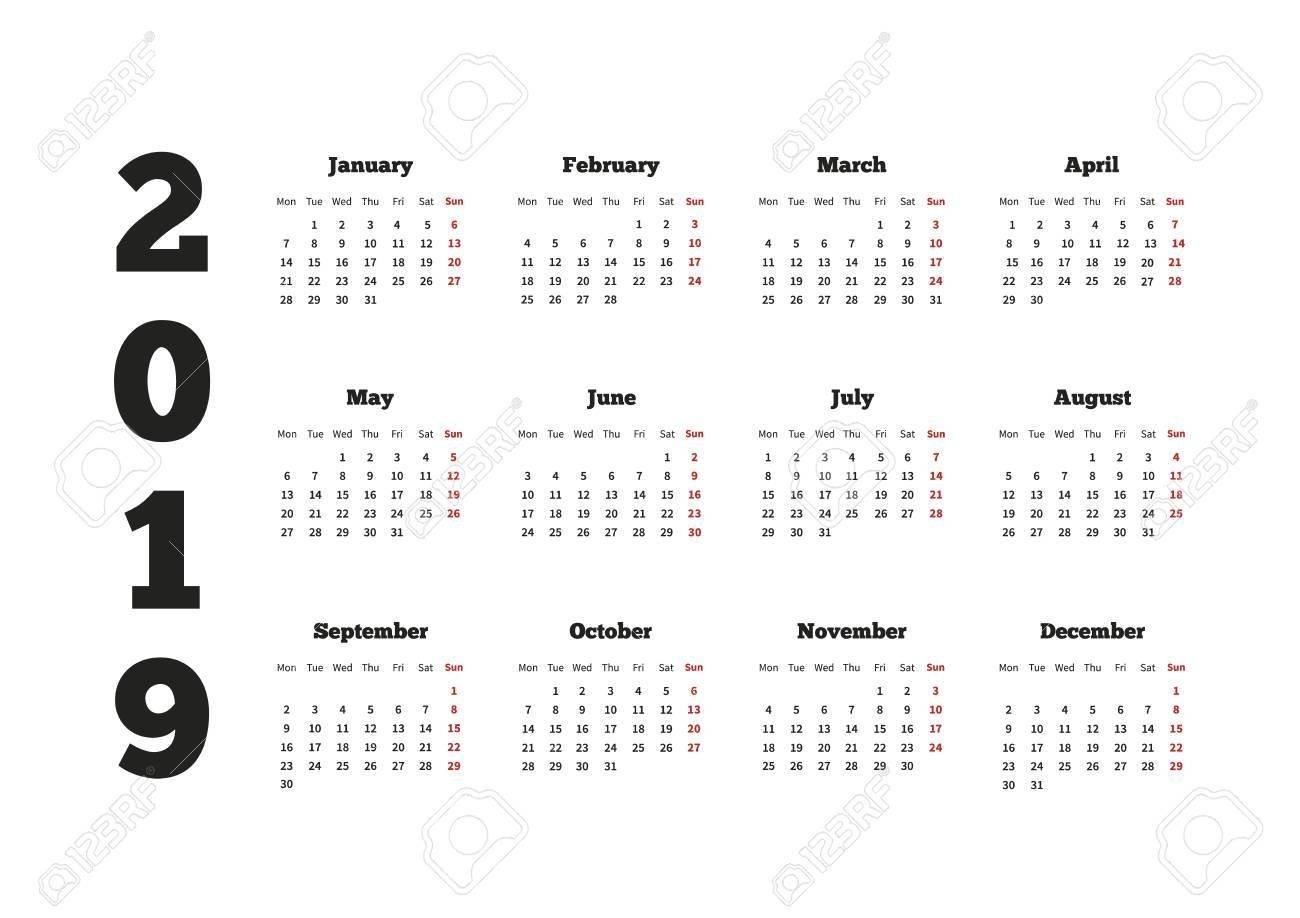 Calendar On 2019 Year With Week Starting From Monday, A4 Horizontal Calendar Week 4 2019