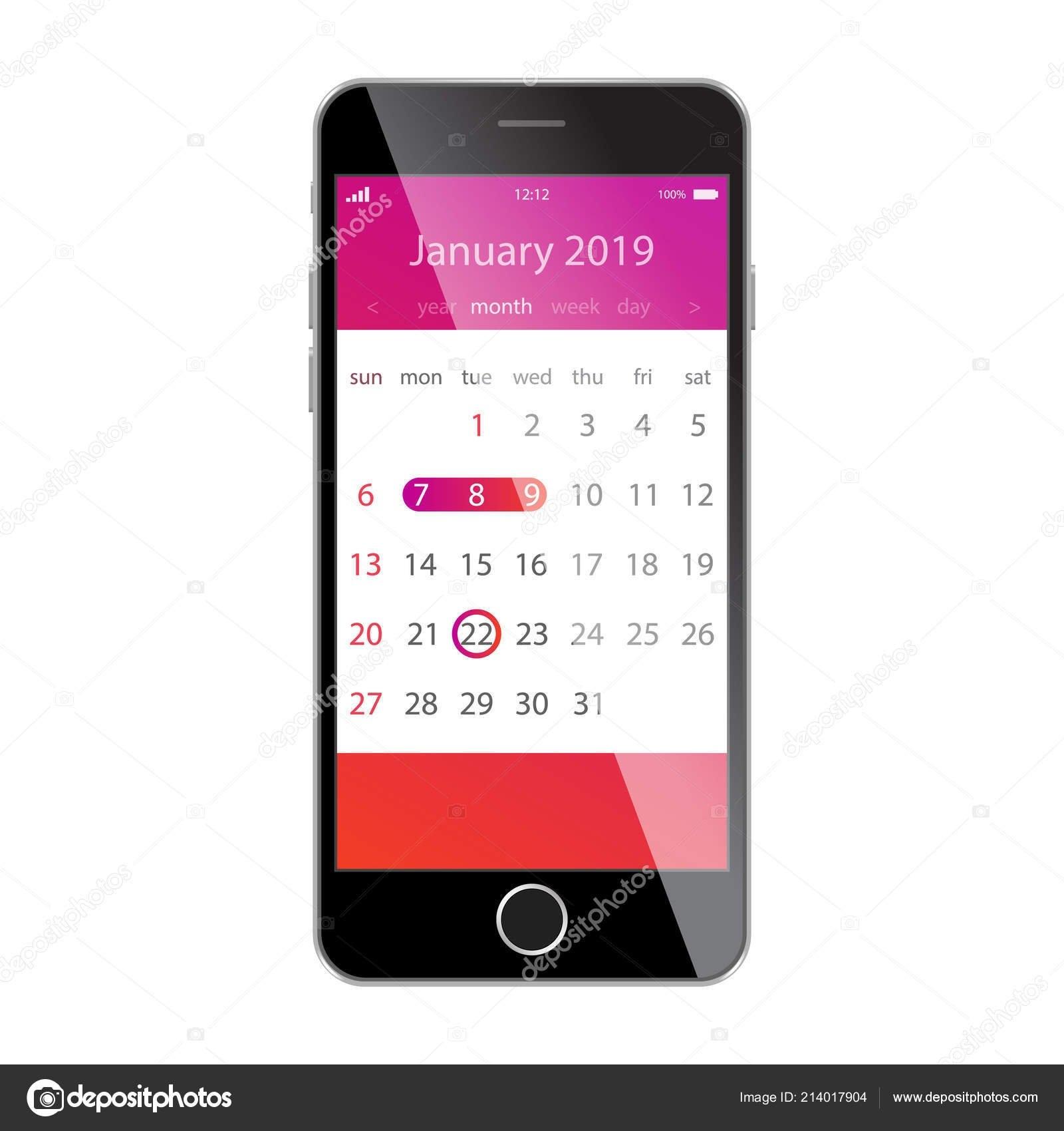 Calendar On Smartphone Screen. Planning, Schedule, Timetable Calendar 2019 App