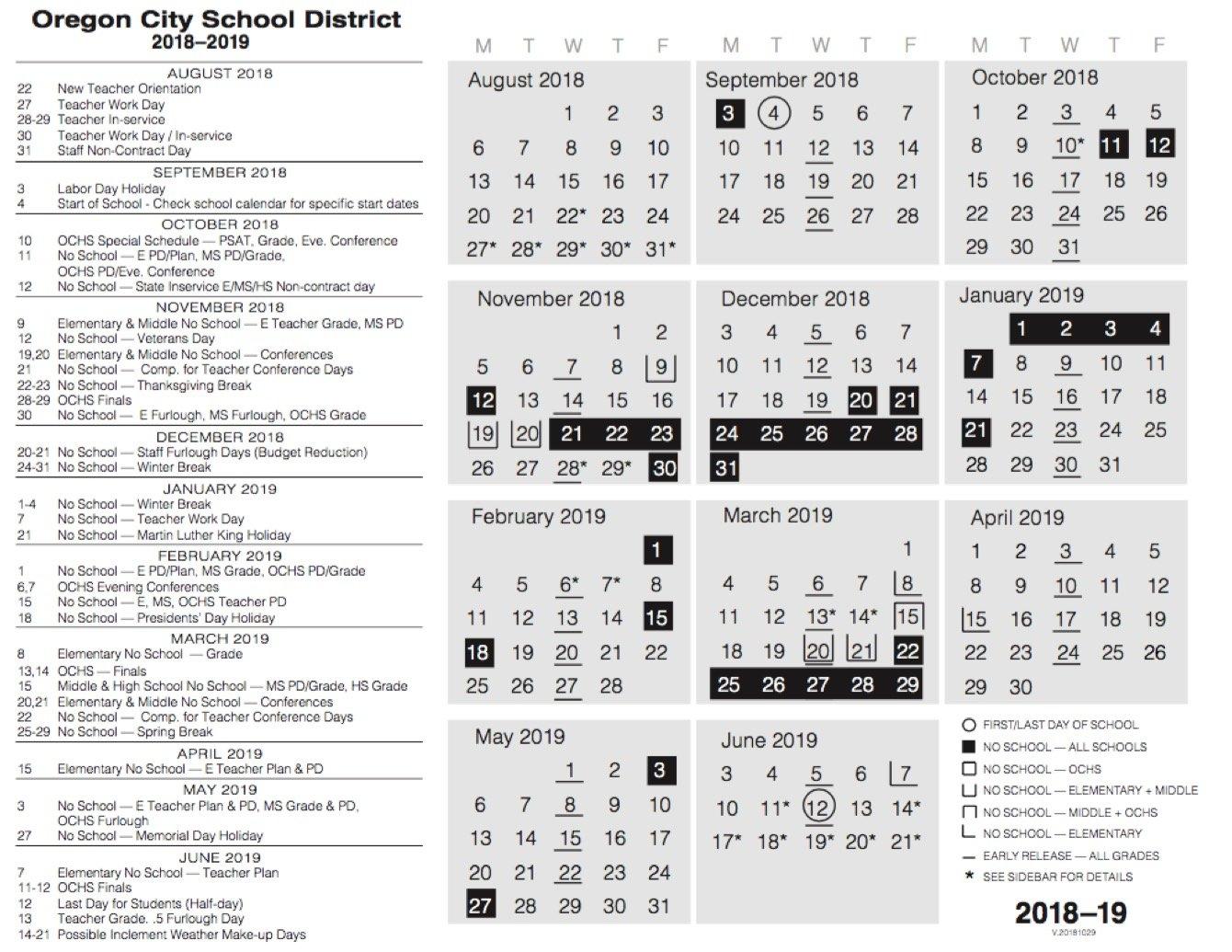 Calendar | Oregon City School District Ccsd Calendar 2019 20