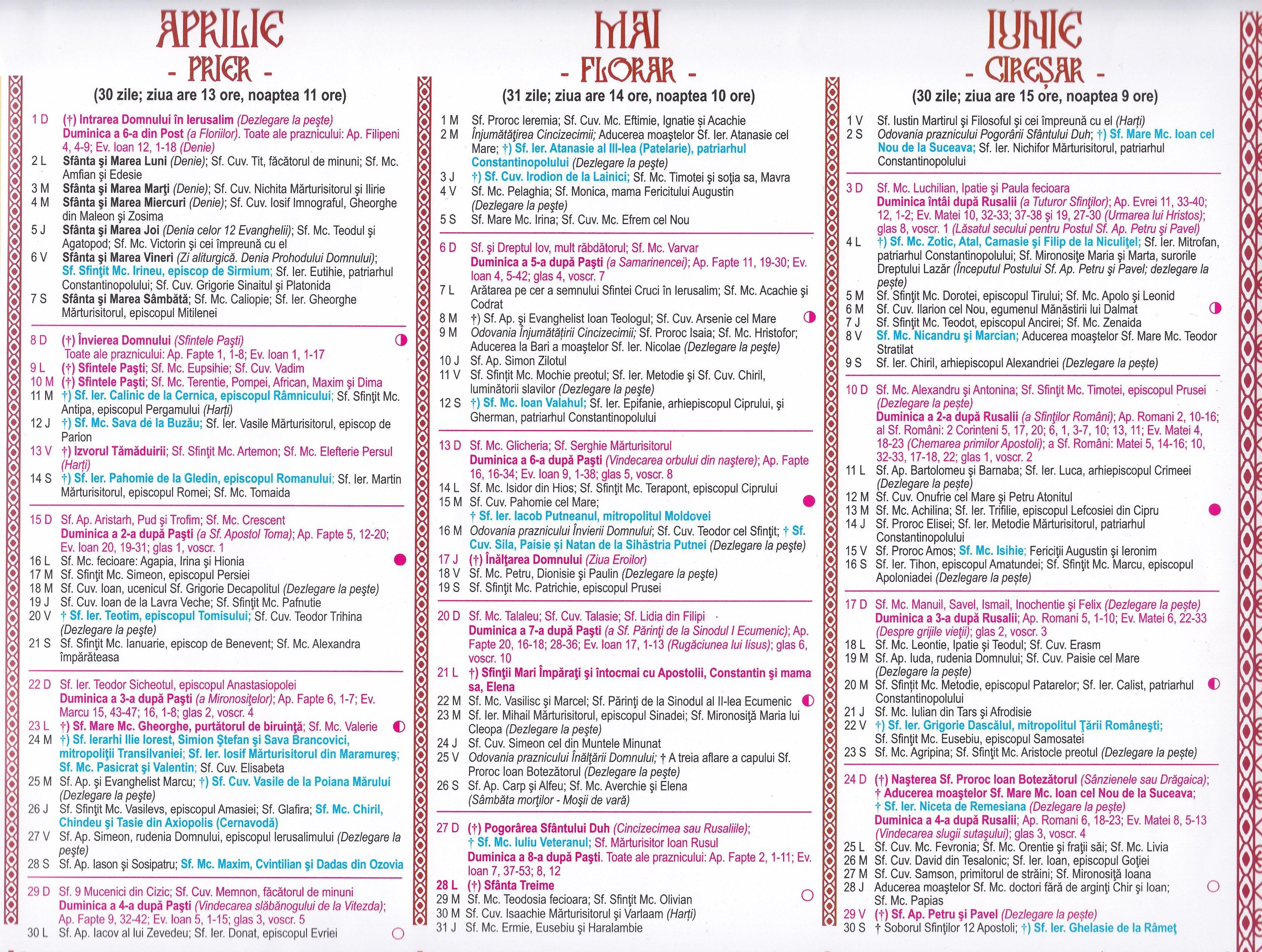 Calendar Ortodox – 2018 8 Iunie 2019 Calendar Ortodox