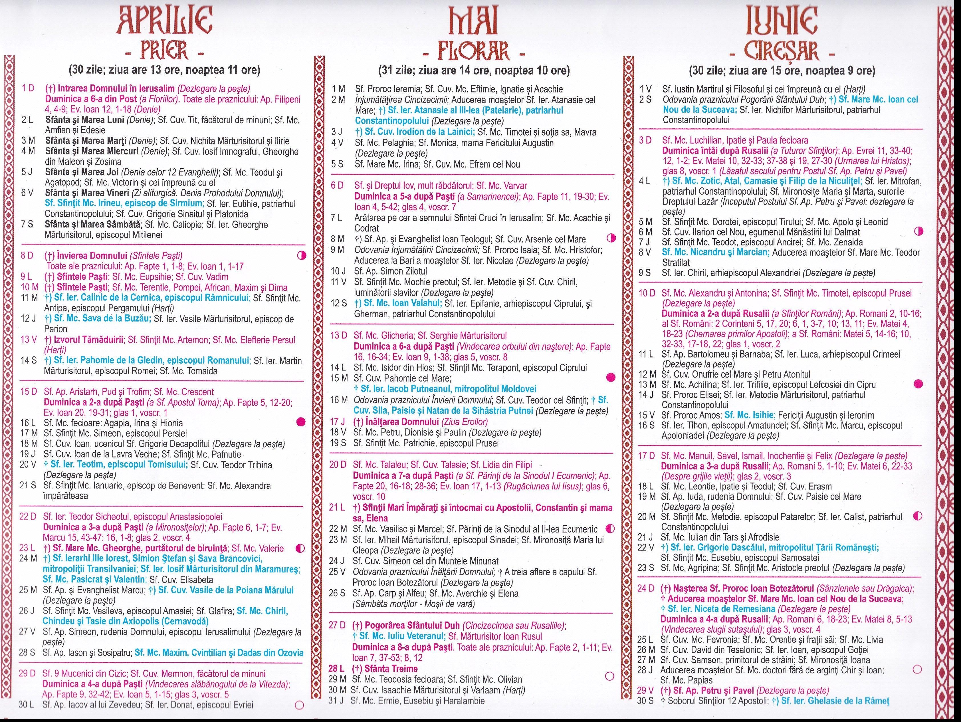 Calendar Ortodox 2018 Aprilie . Luna În Care Avem 7 Sărbători Cu 8 Iunie 2019 Calendar Ortodox