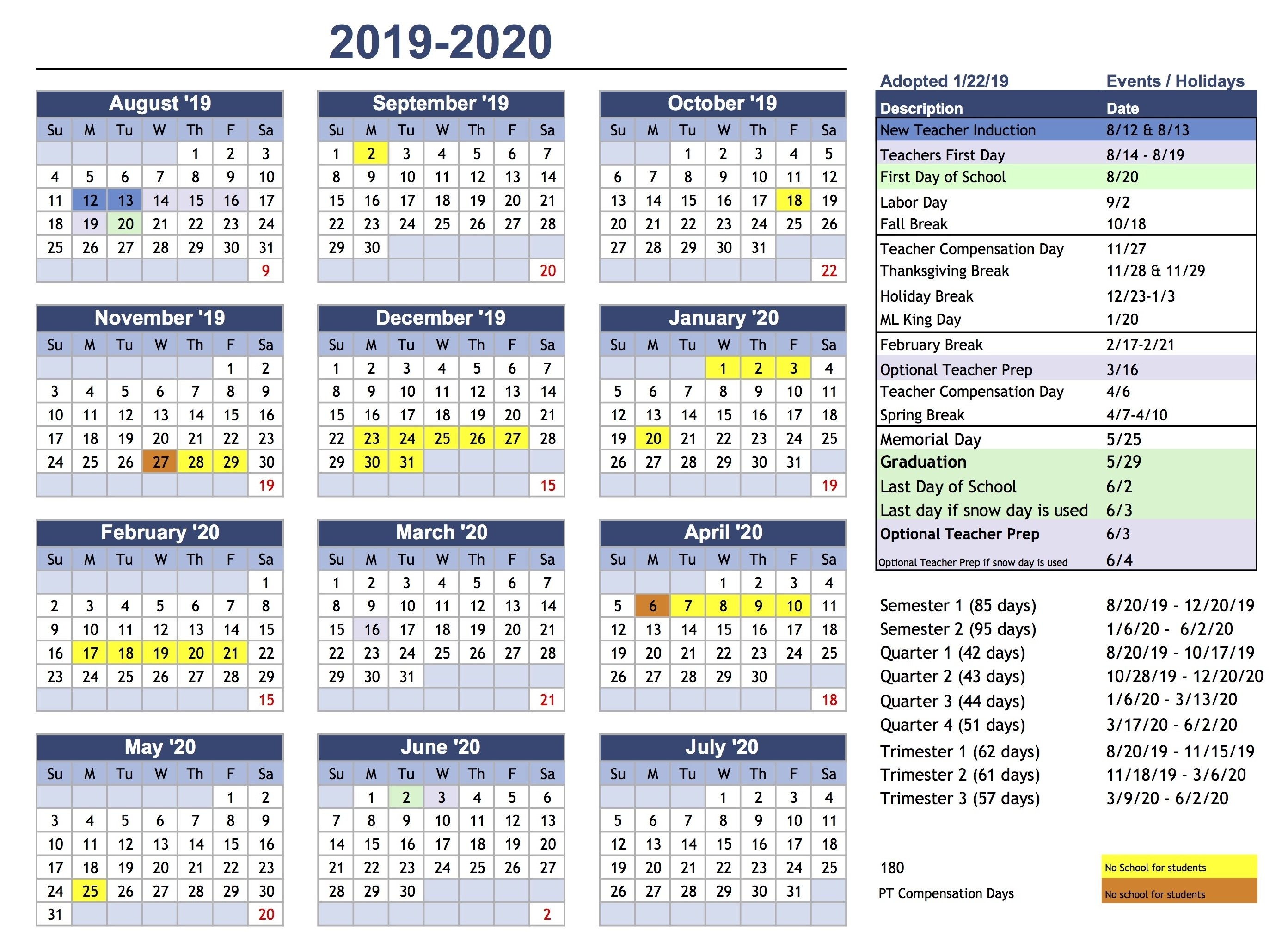 Calendar – Park City School District Ccsd Calendar 2019 20