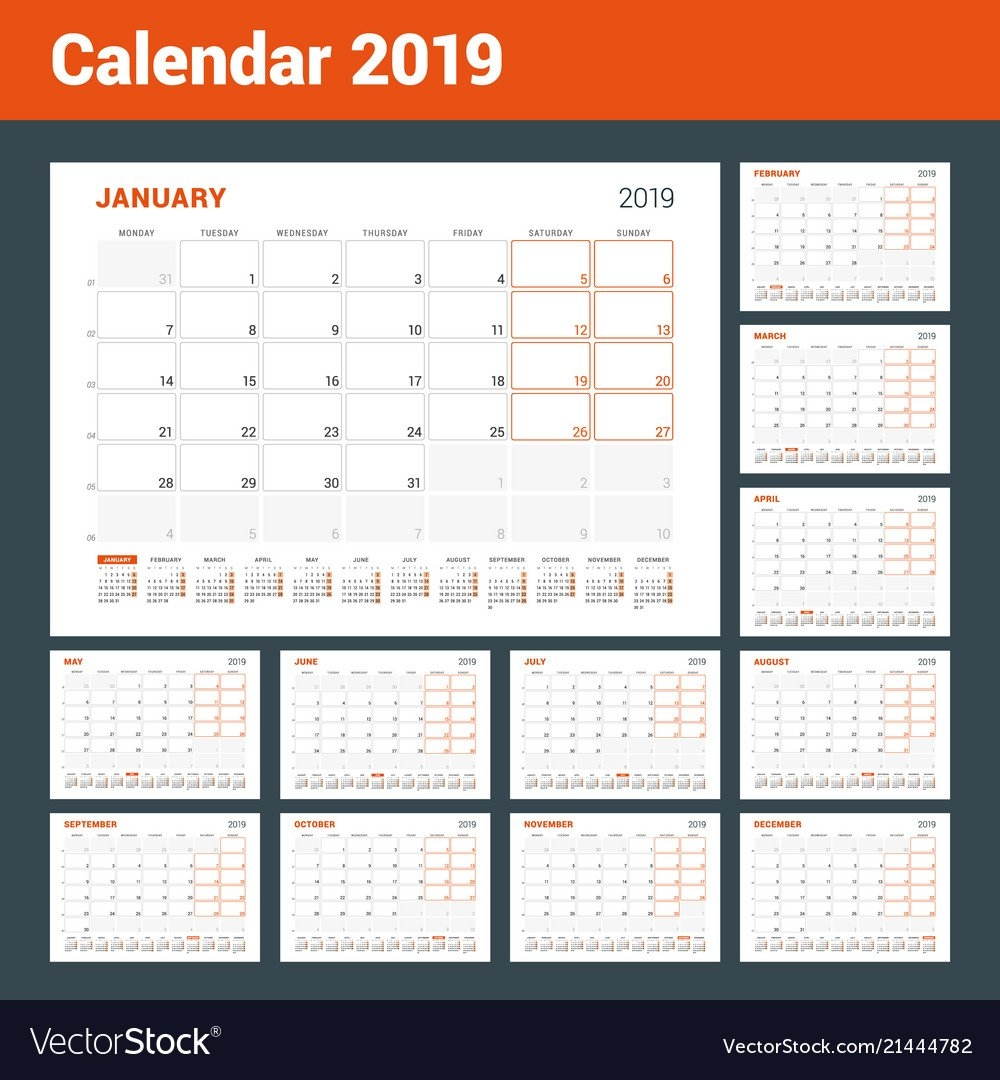 Calendar Planner For 2019 Year Set Of 12 Pages Vector Image 2019 Calendar 12 Pages