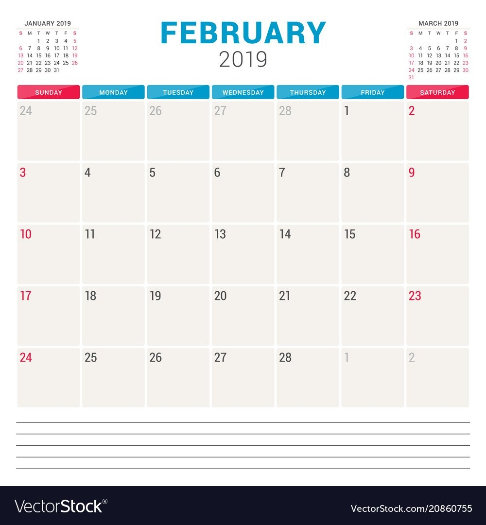 Calendar Planner For February 2019 Week Starts On Vector Image Calendar 2019 By Week