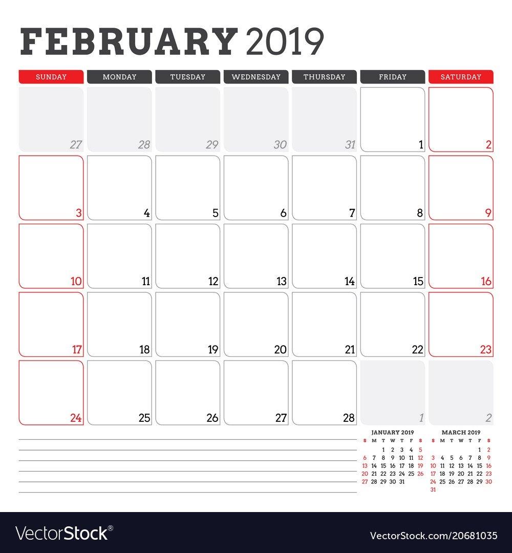 Calendar Planner For February 2019 Week Starts On Vector Image Calendar Week 35 2019