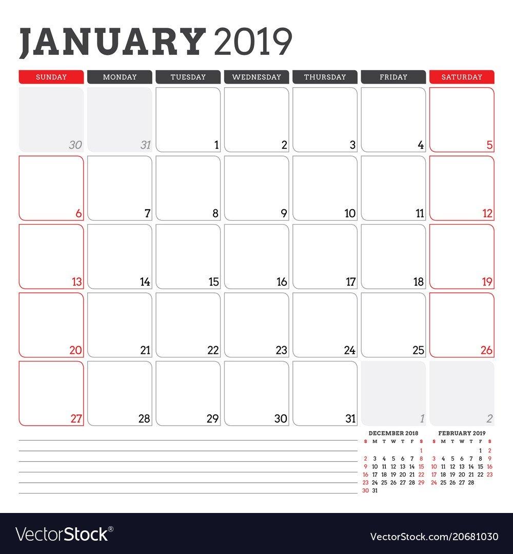 Calendar Planner For January 2019 Week Starts On Vector Image Week 1 Calendar 2019