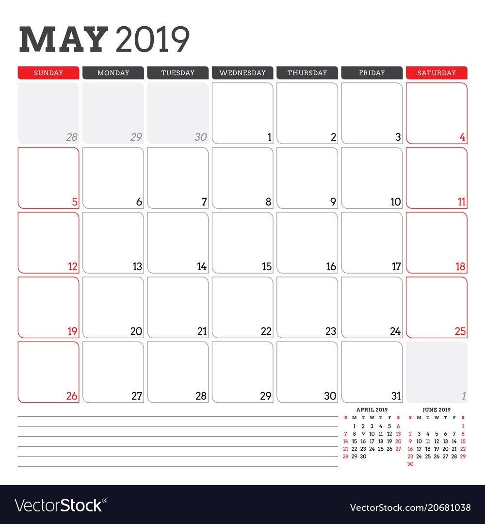 Calendar Planner For May 2019 Week Starts On Vector Image May 3 2019 Calendar
