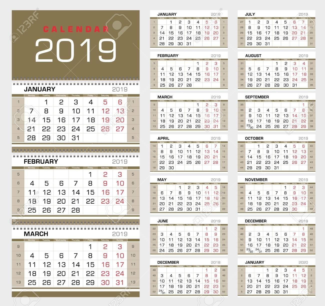 Calendar Planner Template 2019. Week Start From Sunday. Set Of Calendar Week 39 2019