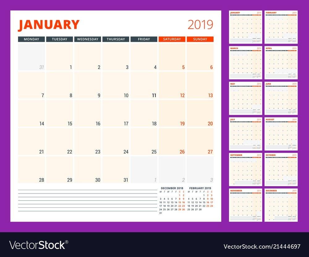 Calendar Planner Template For 2019 Year Week Vector Image Calendar Week 46 2019
