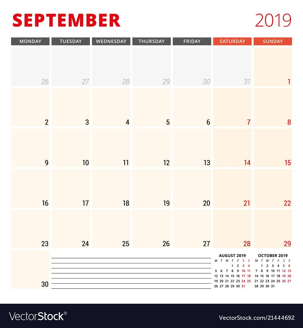 Calendar Planner Template For September 2019 Week Vector Image Calendar Week 46 2019