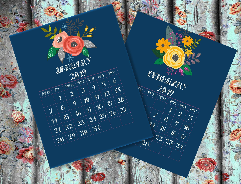 Calendar Printable Monthly Calendar 2019 Desk Calendar 2019   Etsy Calendar 2019 Vistaprint