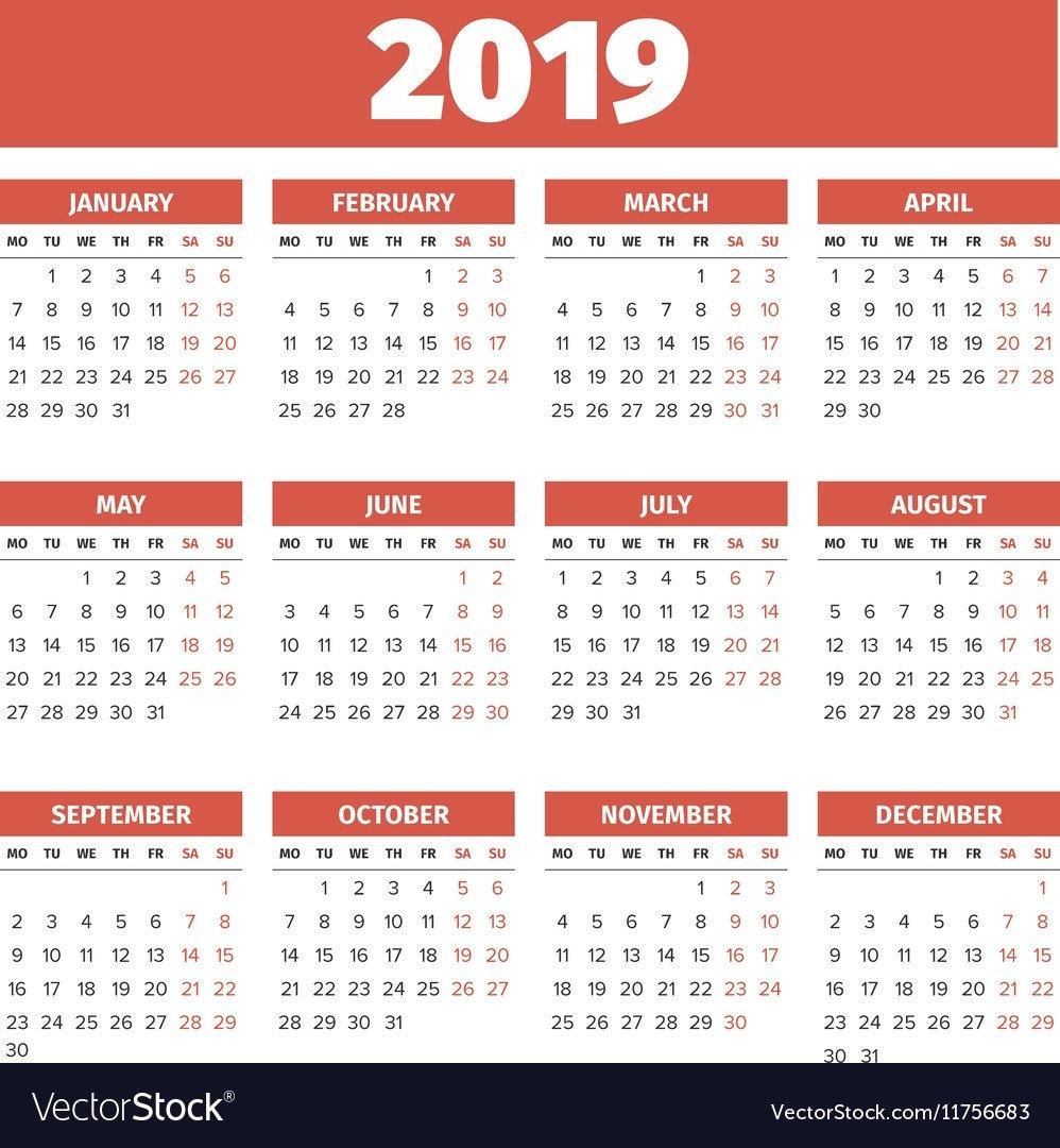 Calendar Template 2019 Royalty Free Vector Image Calendar 2019 Vector Download