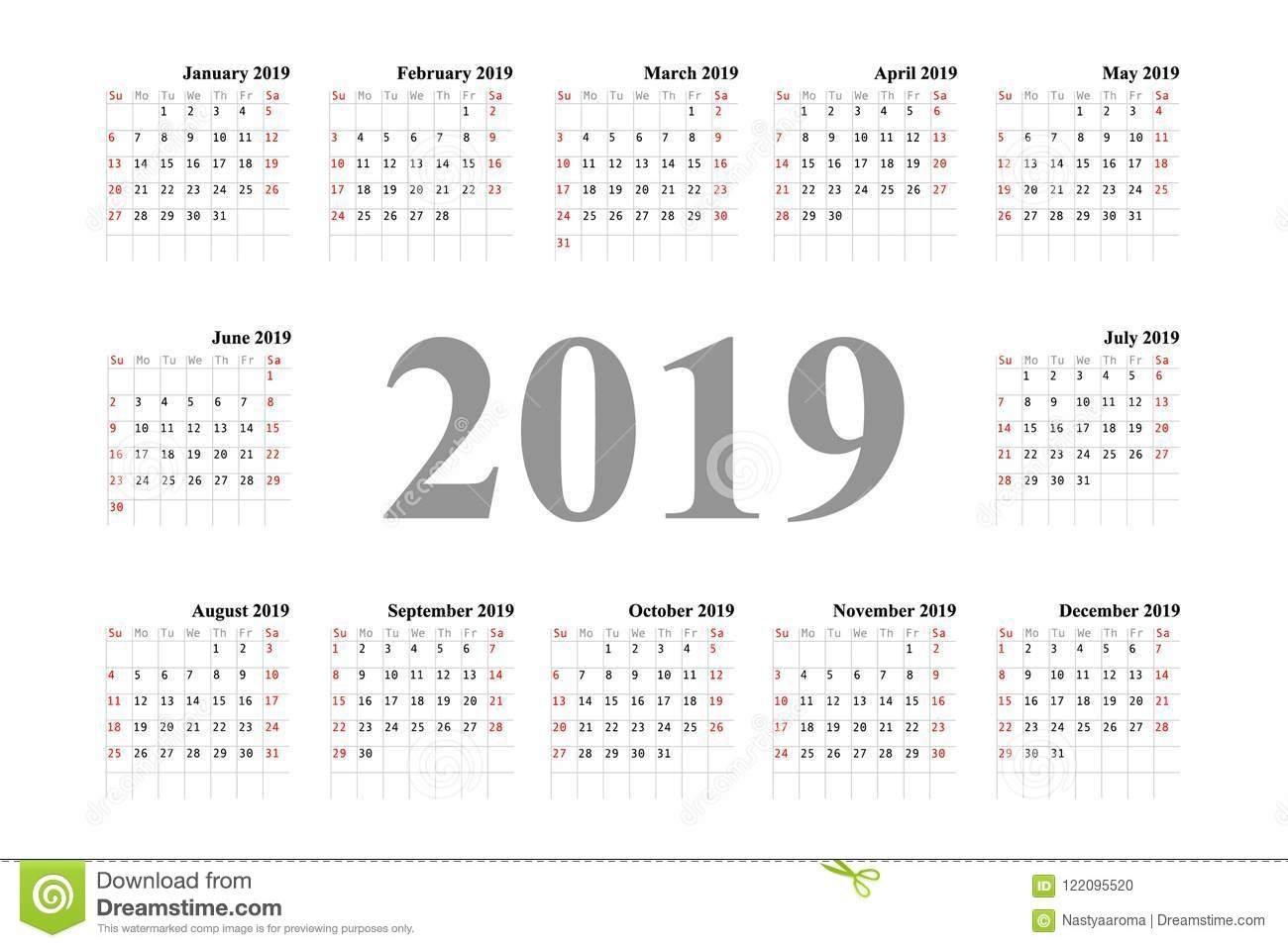 Calendar Template Design 2019 Stock Illustration – Illustration Of Calendar Week 36 2019